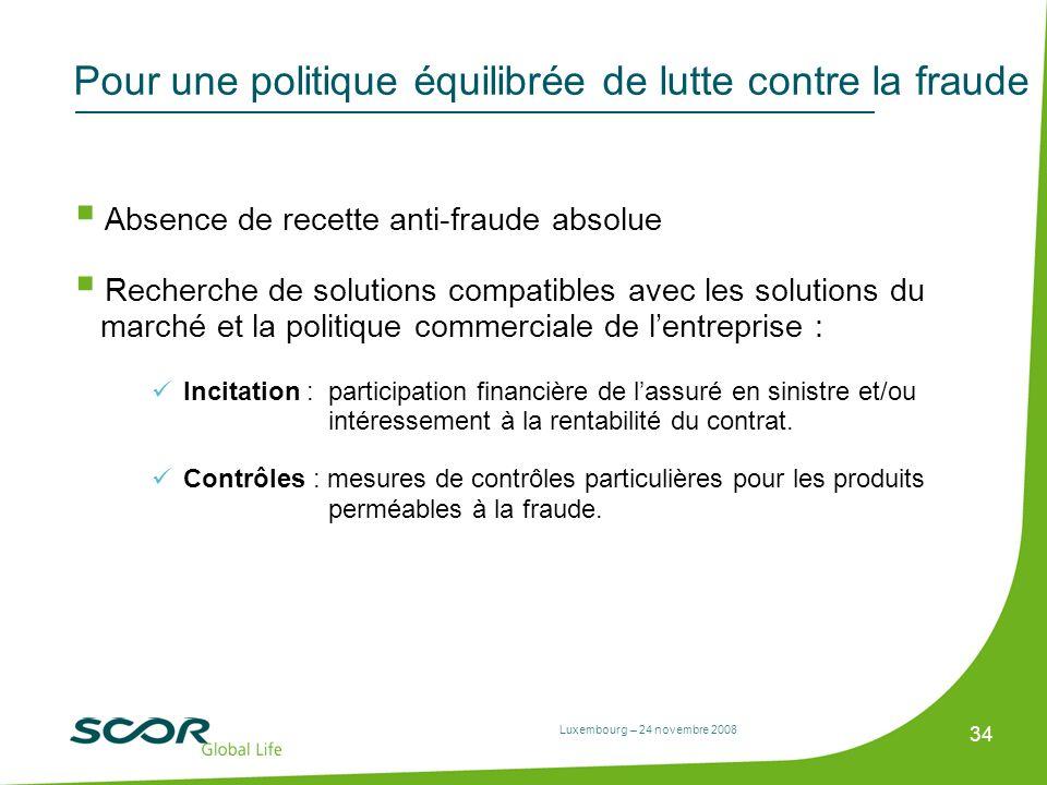 Luxembourg – 24 novembre 2008 34 Pour une politique équilibrée de lutte contre la fraude Absence de recette anti-fraude absolue Recherche de solutions