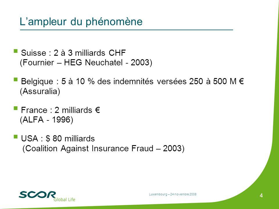 Luxembourg – 24 novembre 2008 4 Lampleur du phénomène Suisse : 2 à 3 milliards CHF (Fournier – HEG Neuchatel - 2003) Belgique : 5 à 10 % des indemnité