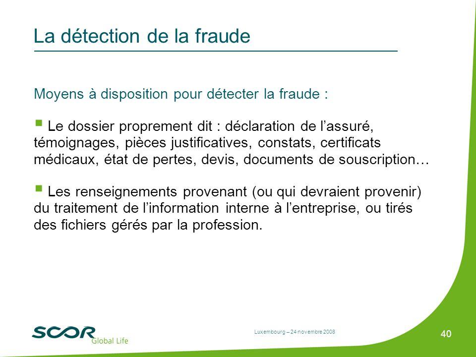 Luxembourg – 24 novembre 2008 40 La détection de la fraude Moyens à disposition pour détecter la fraude : Le dossier proprement dit : déclaration de l