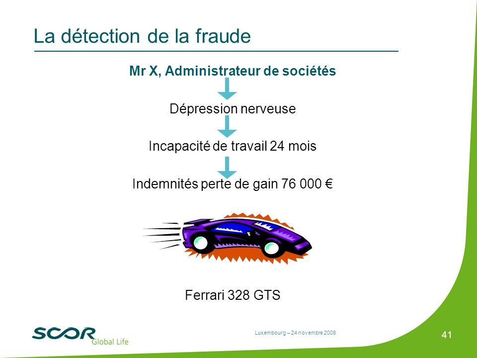 Luxembourg – 24 novembre 2008 41 La détection de la fraude Mr X, Administrateur de sociétés Dépression nerveuse Incapacité de travail 24 mois Indemnit