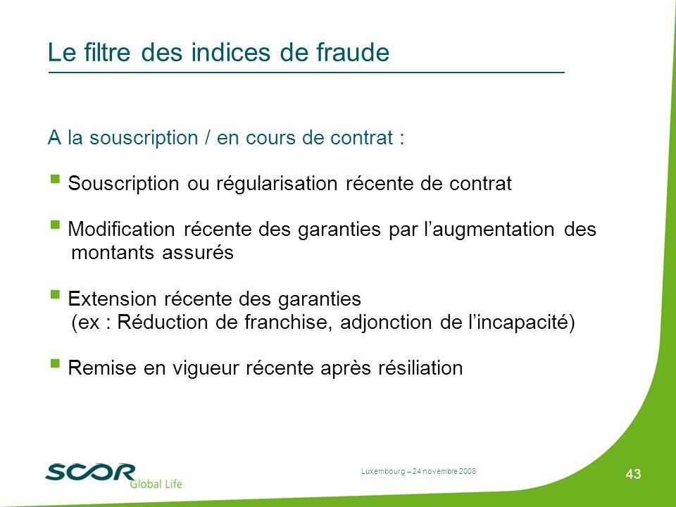 Luxembourg – 24 novembre 2008 43 Le filtre des indices de fraude A la souscription / en cours de contrat : Souscription ou régularisation récente de c