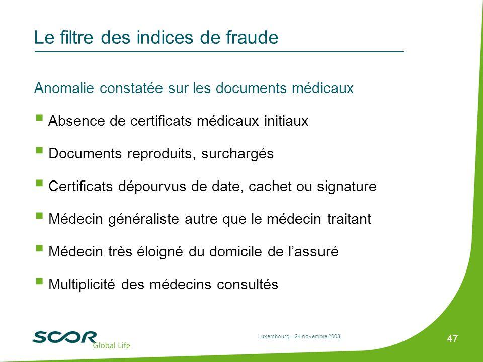 Luxembourg – 24 novembre 2008 47 Le filtre des indices de fraude Anomalie constatée sur les documents médicaux Absence de certificats médicaux initiau