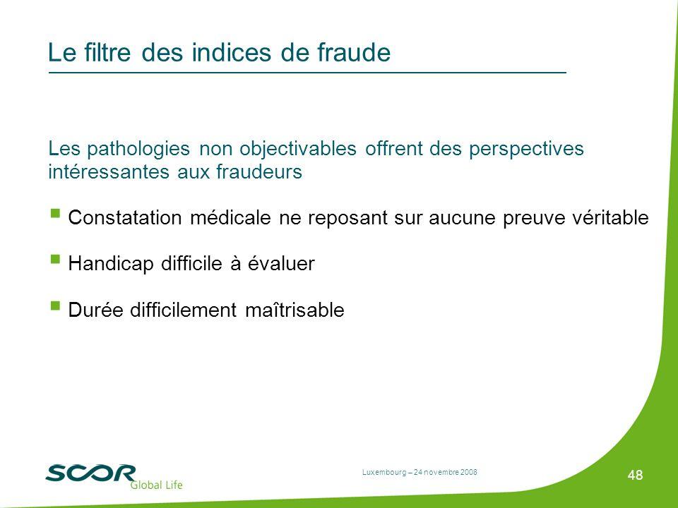 Luxembourg – 24 novembre 2008 48 Le filtre des indices de fraude Les pathologies non objectivables offrent des perspectives intéressantes aux fraudeur