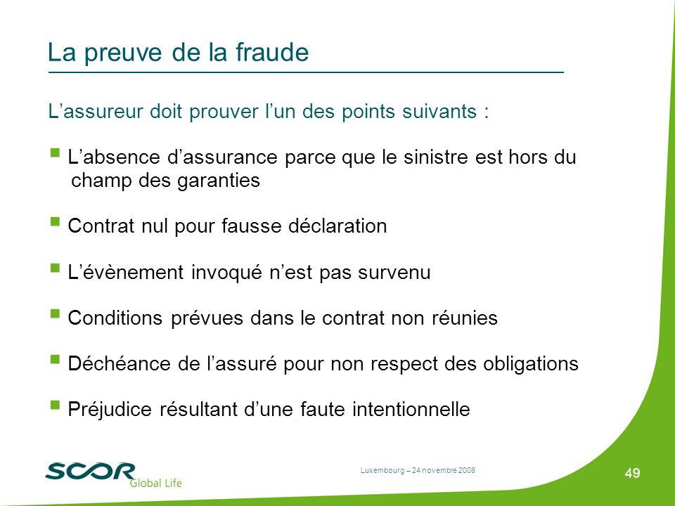 Luxembourg – 24 novembre 2008 49 La preuve de la fraude Lassureur doit prouver lun des points suivants : Labsence dassurance parce que le sinistre est