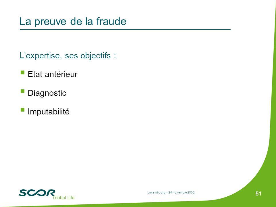 Luxembourg – 24 novembre 2008 51 La preuve de la fraude Lexpertise, ses objectifs : Etat antérieur Diagnostic Imputabilité