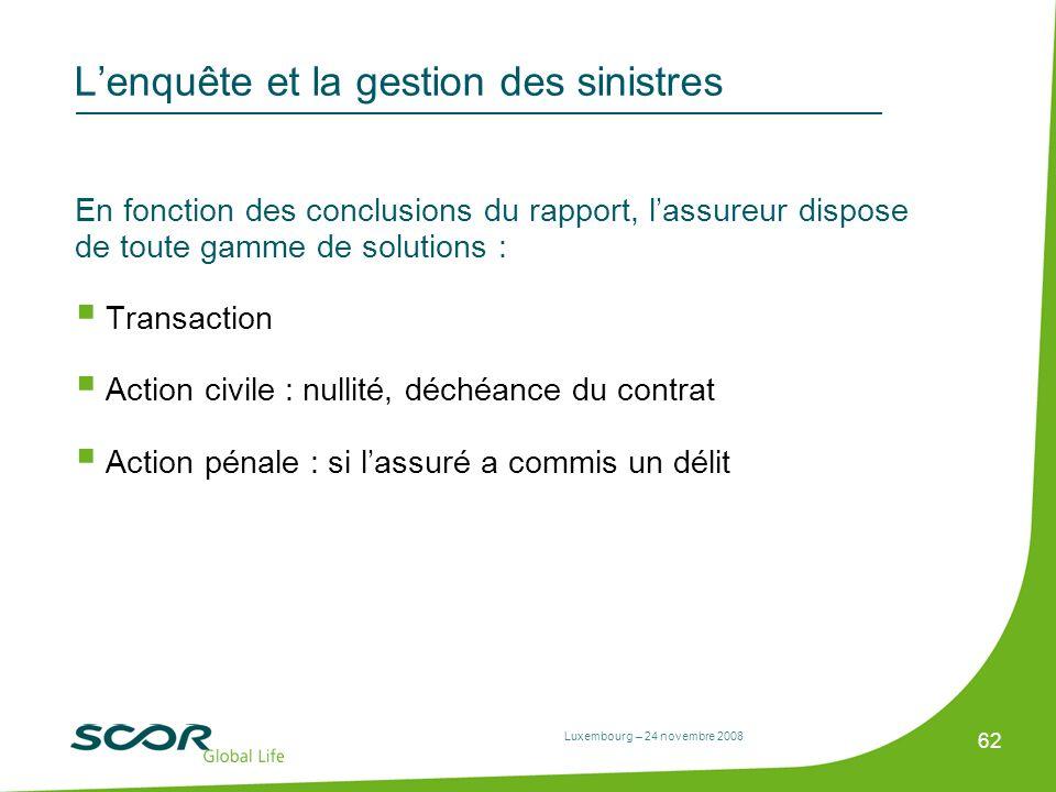 Luxembourg – 24 novembre 2008 62 Lenquête et la gestion des sinistres En fonction des conclusions du rapport, lassureur dispose de toute gamme de solu