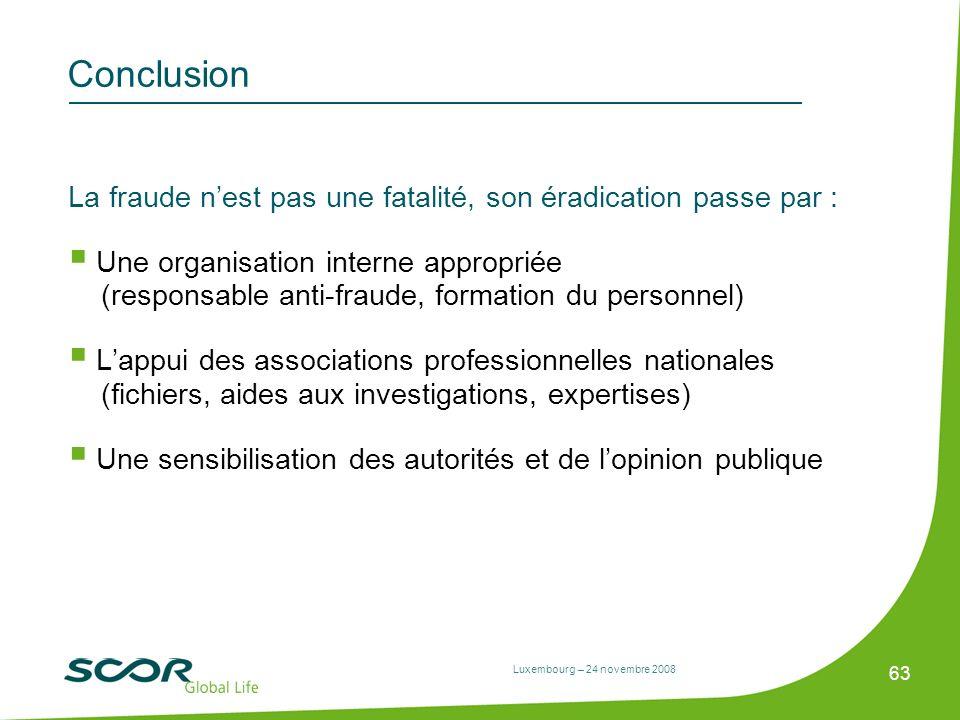 Luxembourg – 24 novembre 2008 63 Conclusion La fraude nest pas une fatalité, son éradication passe par : Une organisation interne appropriée (responsa