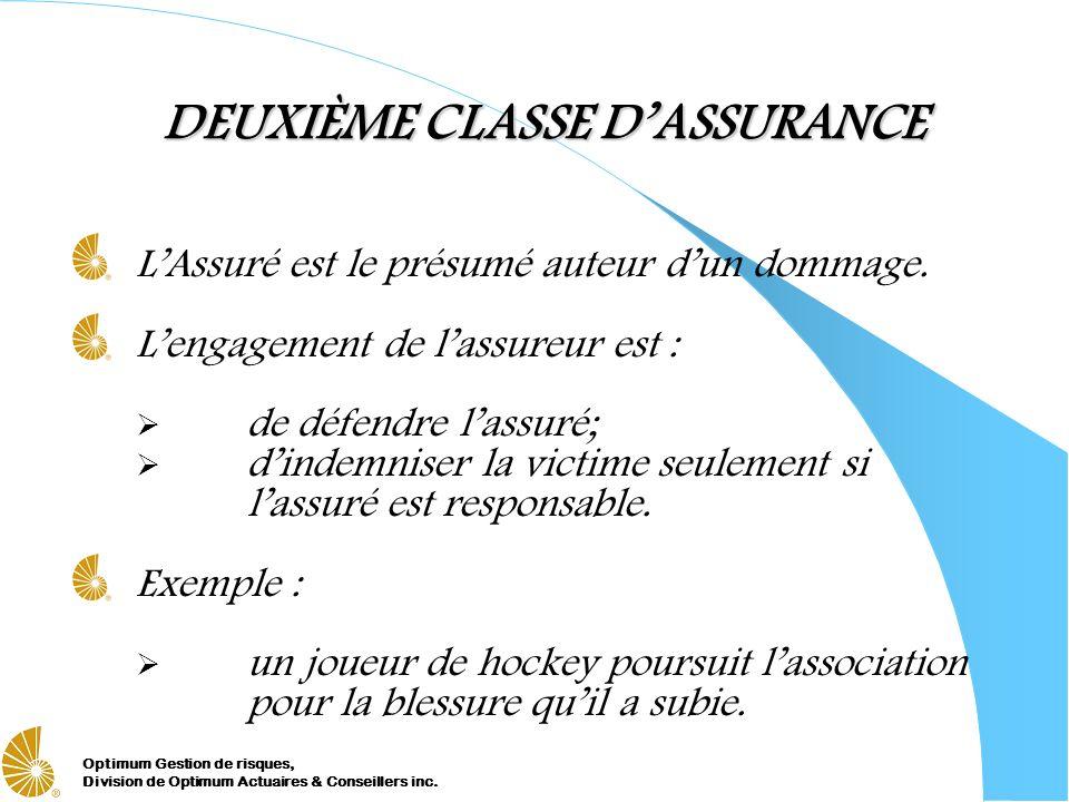 Optimum Gestion de risques, Division de Optimum Actuaires & Conseillers inc. DEUXIÈME CLASSE DASSURANCE LAssuré est le présumé auteur dun dommage. Len