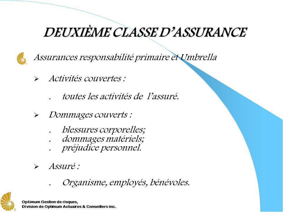 Optimum Gestion de risques, Division de Optimum Actuaires & Conseillers inc. DEUXIÈME CLASSE DASSURANCE Assurances responsabilité primaire et Umbrella