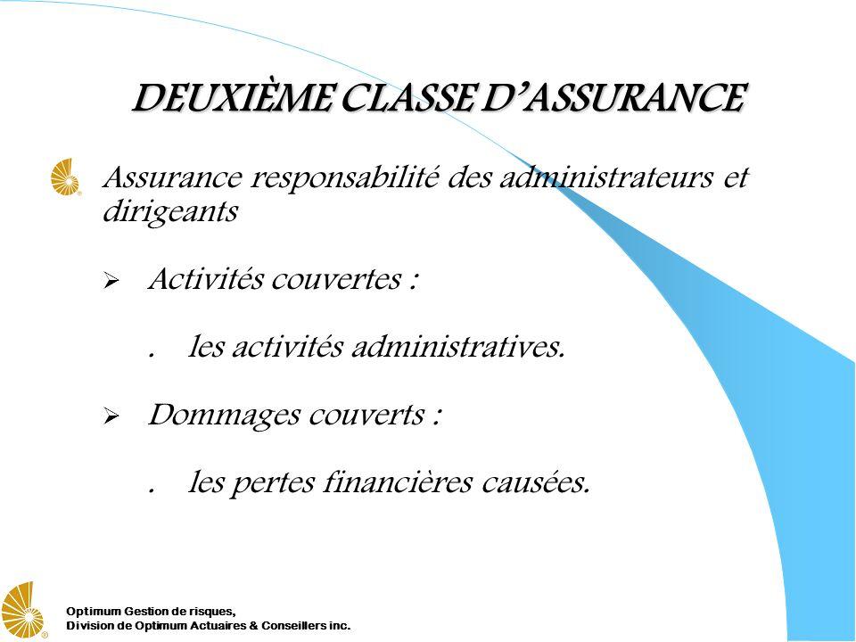 Optimum Gestion de risques, Division de Optimum Actuaires & Conseillers inc. DEUXIÈME CLASSE DASSURANCE Assurance responsabilité des administrateurs e