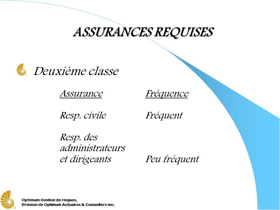 Optimum Gestion de risques, Division de Optimum Actuaires & Conseillers inc. ASSURANCES REQUISES Deuxième classe AssuranceFréquence Resp. civileFréque
