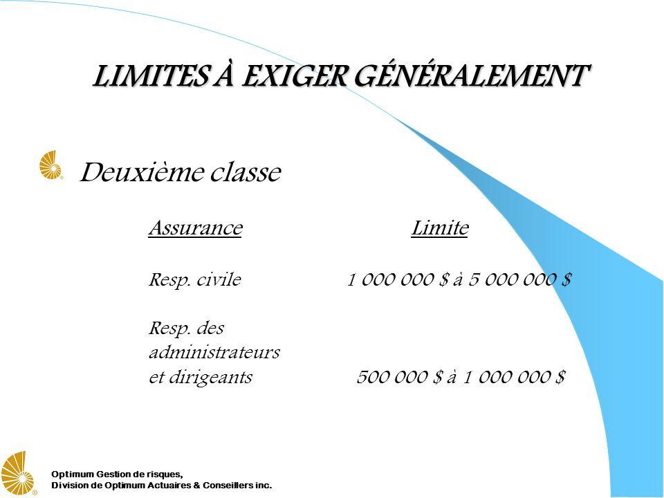Optimum Gestion de risques, Division de Optimum Actuaires & Conseillers inc. LIMITES À EXIGER GÉNÉRALEMENT Deuxième classe AssuranceLimite Resp. civil