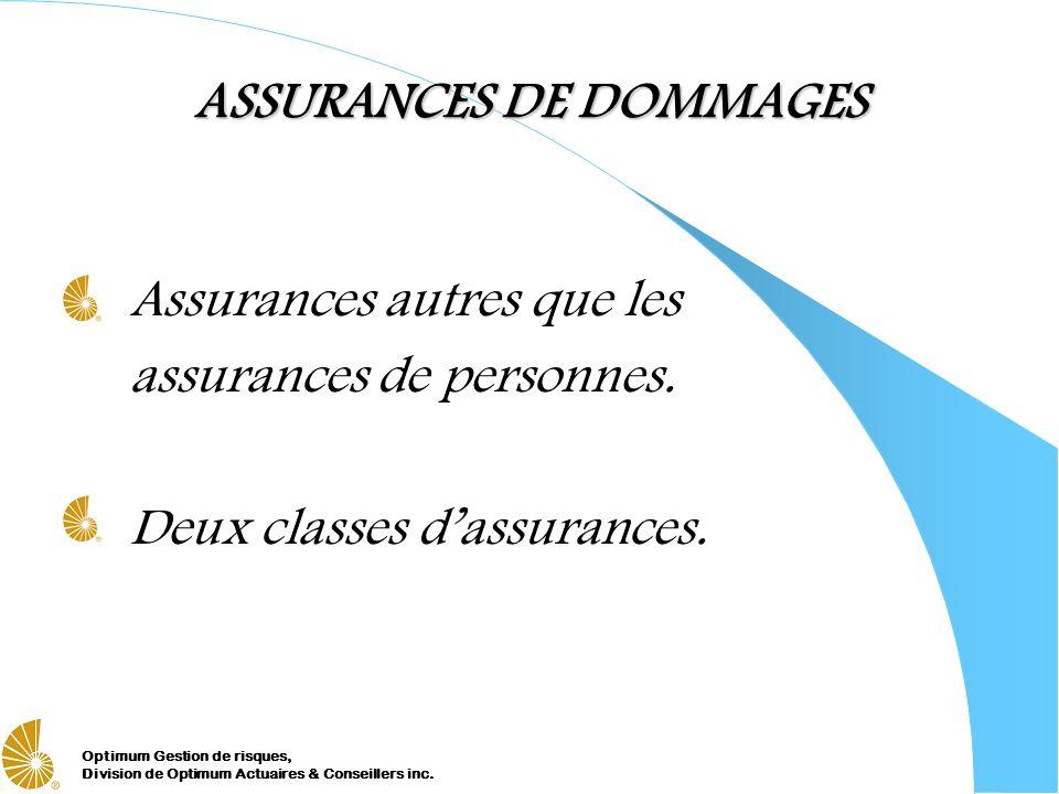 Optimum Gestion de risques, Division de Optimum Actuaires & Conseillers inc. ASSURANCES DE DOMMAGES Assurances autres que les assurances de personnes.