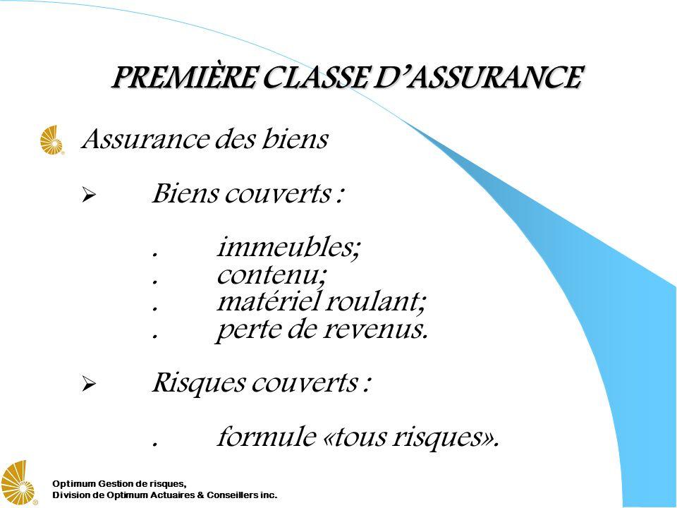 Optimum Gestion de risques, Division de Optimum Actuaires & Conseillers inc. PREMIÈRE CLASSE DASSURANCE Assurance des biens Biens couverts :.immeubles