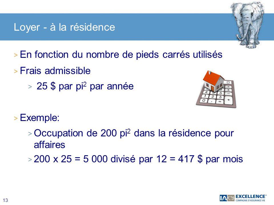 13 Loyer - à la résidence > En fonction du nombre de pieds carrés utilisés > Frais admissible > 25 $ par pi 2 par année > Exemple: > Occupation de 200