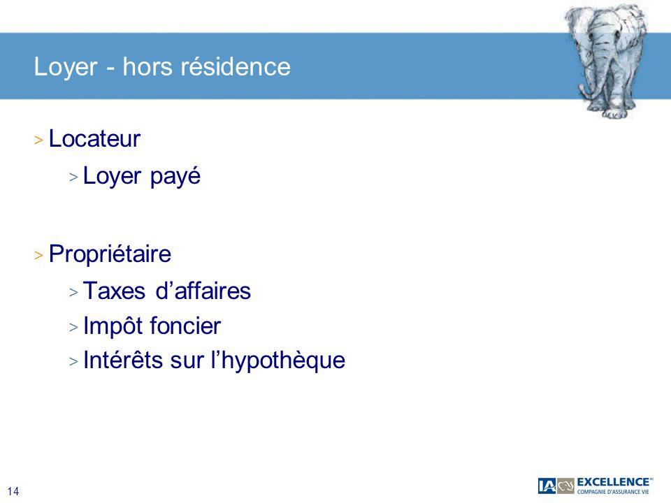 14 Loyer - hors résidence > Locateur > Loyer payé > Propriétaire > Taxes daffaires > Impôt foncier > Intérêts sur lhypothèque