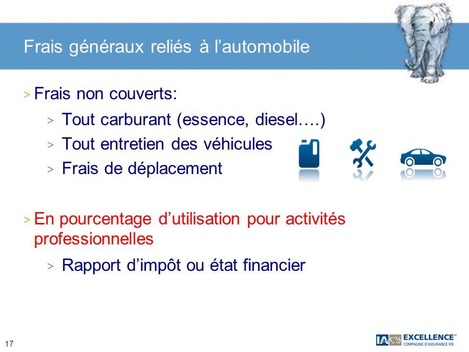17 Frais généraux reliés à lautomobile > Frais non couverts: > Tout carburant (essence, diesel….) > Tout entretien des véhicules > Frais de déplacemen