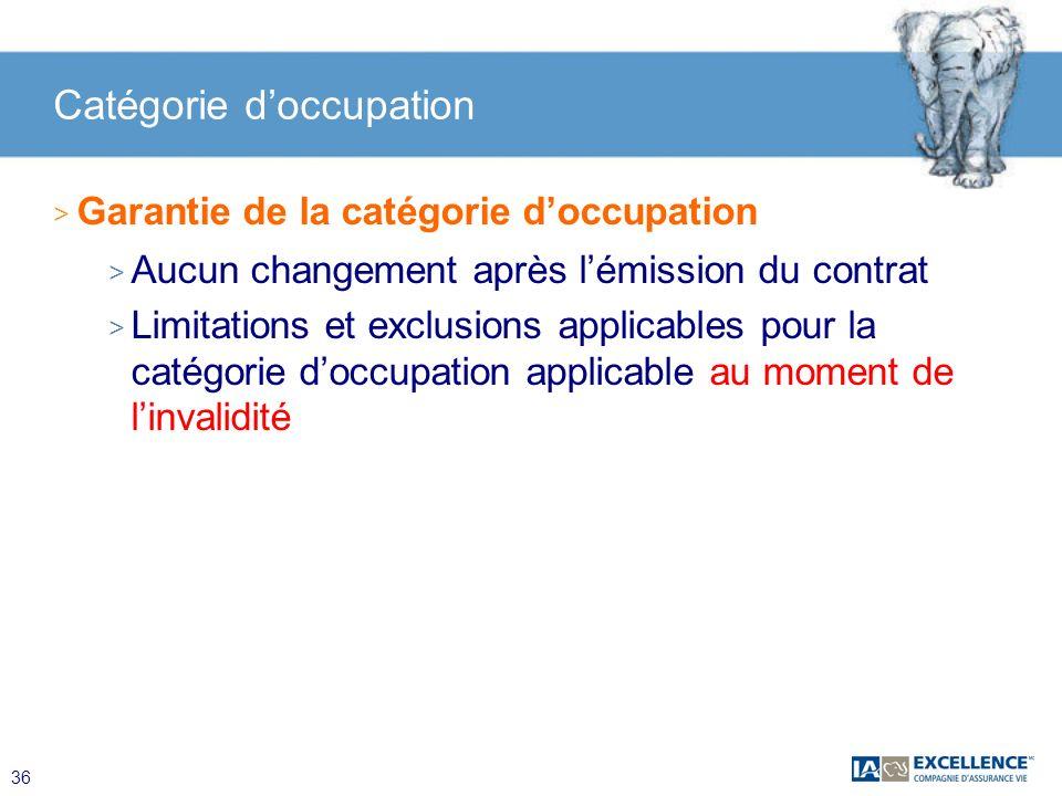 36 > Garantie de la catégorie doccupation > Aucun changement après lémission du contrat > Limitations et exclusions applicables pour la catégorie docc