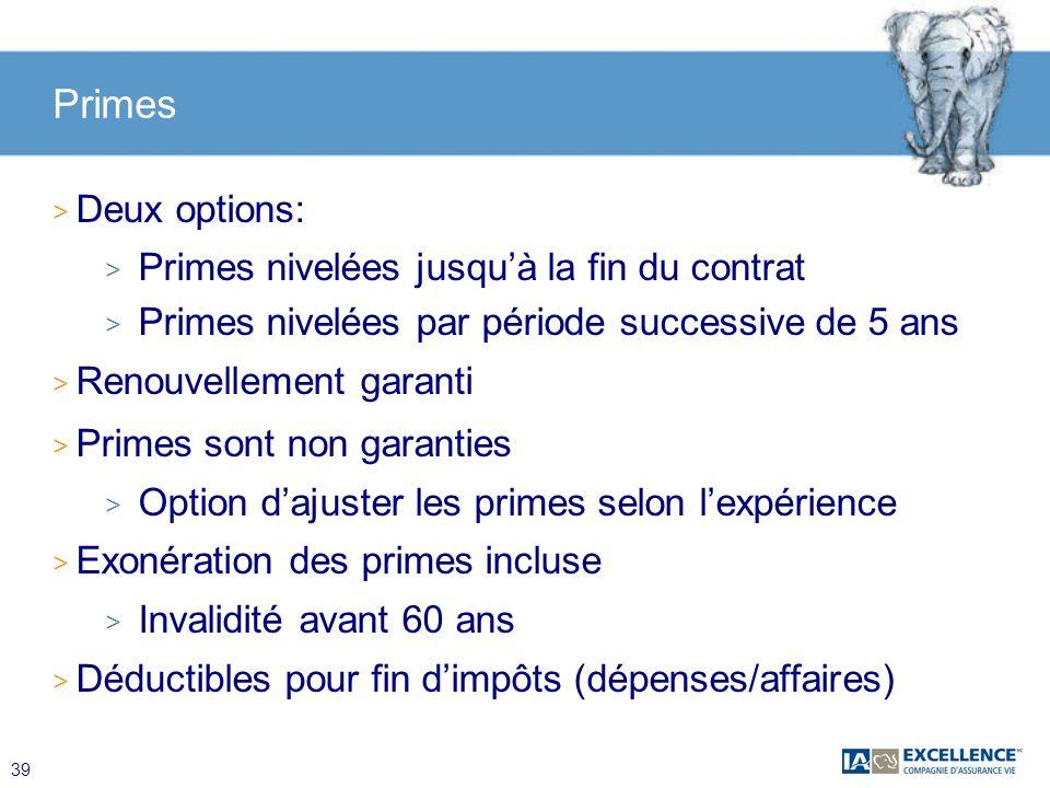39 Primes > Deux options: > Primes nivelées jusquà la fin du contrat > Primes nivelées par période successive de 5 ans > Renouvellement garanti > Prim