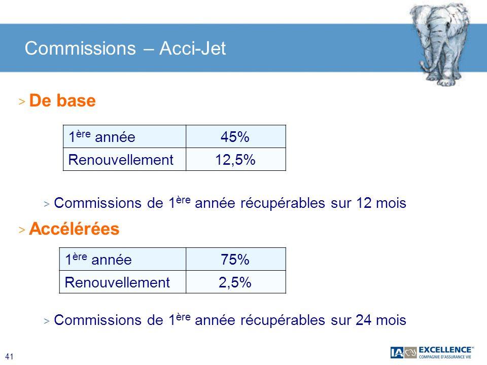 41 Commissions – Acci-Jet > De base > Commissions de 1 ère année récupérables sur 12 mois > Accélérées > Commissions de 1 ère année récupérables sur 2