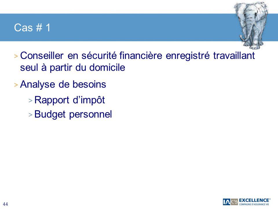 44 Cas # 1 > Conseiller en sécurité financière enregistré travaillant seul à partir du domicile > Analyse de besoins > Rapport dimpôt > Budget personn