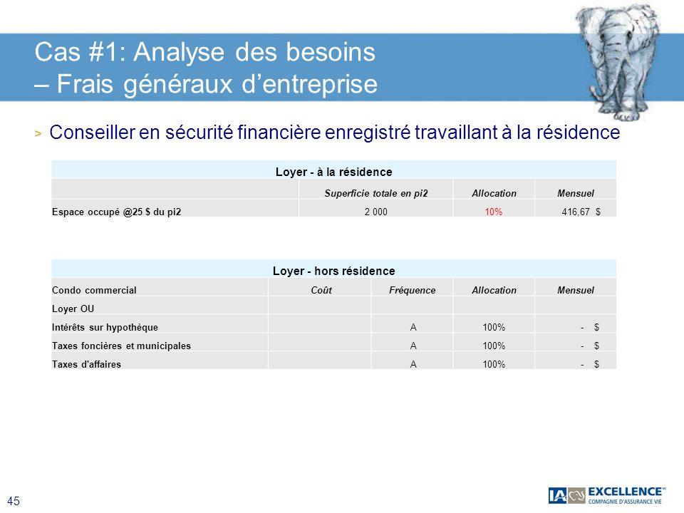 45 Cas #1: Analyse des besoins – Frais généraux dentreprise > Conseiller en sécurité financière enregistré travaillant à la résidence Loyer - à la rés
