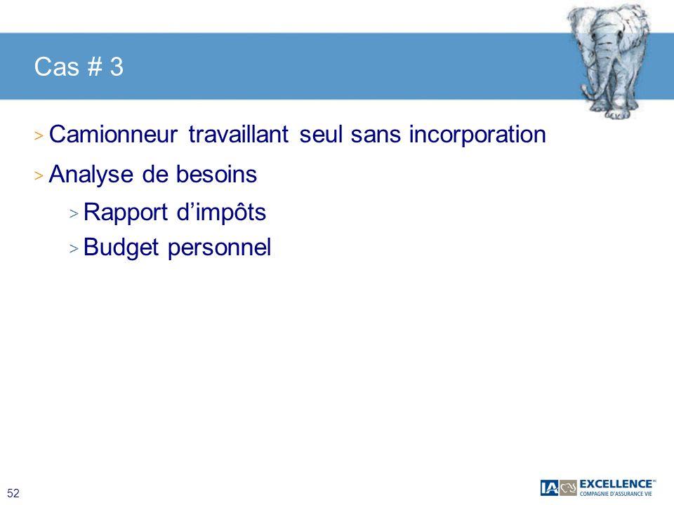 52 Cas # 3 > Camionneur travaillant seul sans incorporation > Analyse de besoins > Rapport dimpôts > Budget personnel