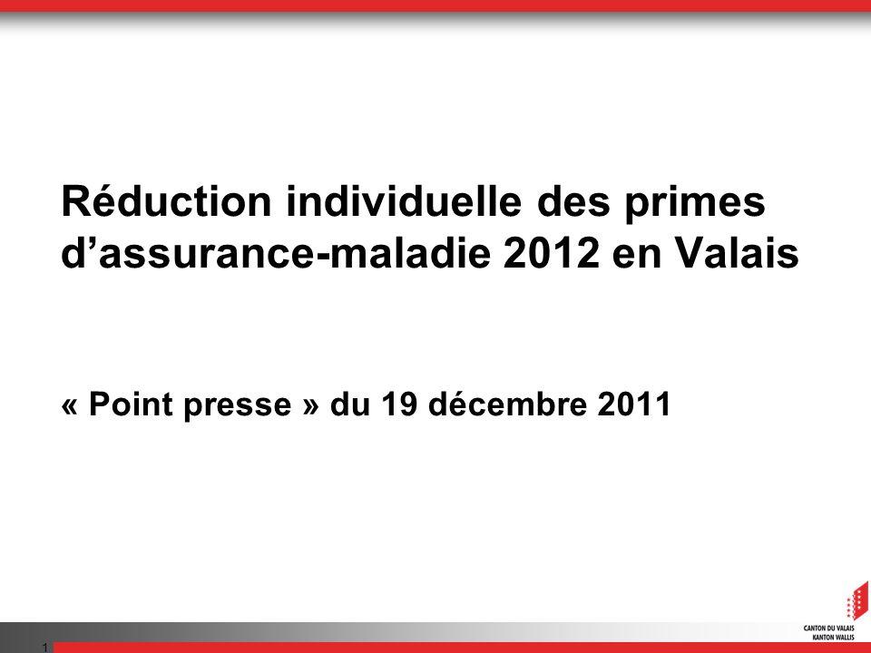1 Réduction individuelle des primes dassurance-maladie 2012 en Valais « Point presse » du 19 décembre 2011