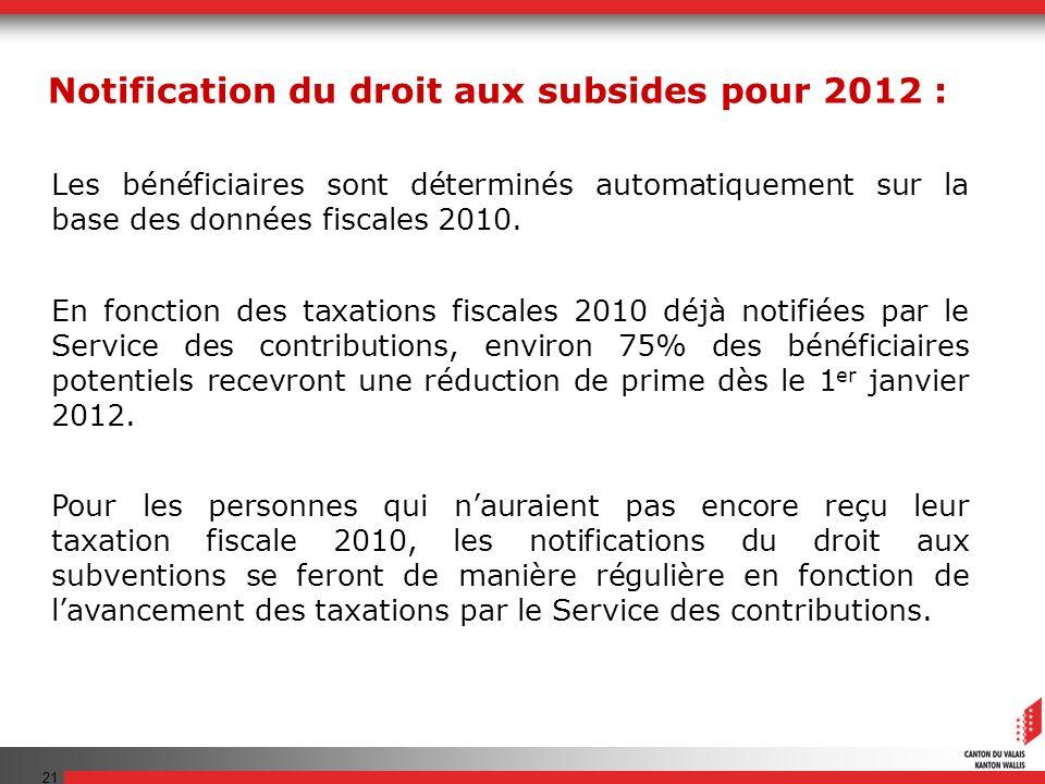 21 Les bénéficiaires sont déterminés automatiquement sur la base des données fiscales 2010. En fonction des taxations fiscales 2010 déjà notifiées par