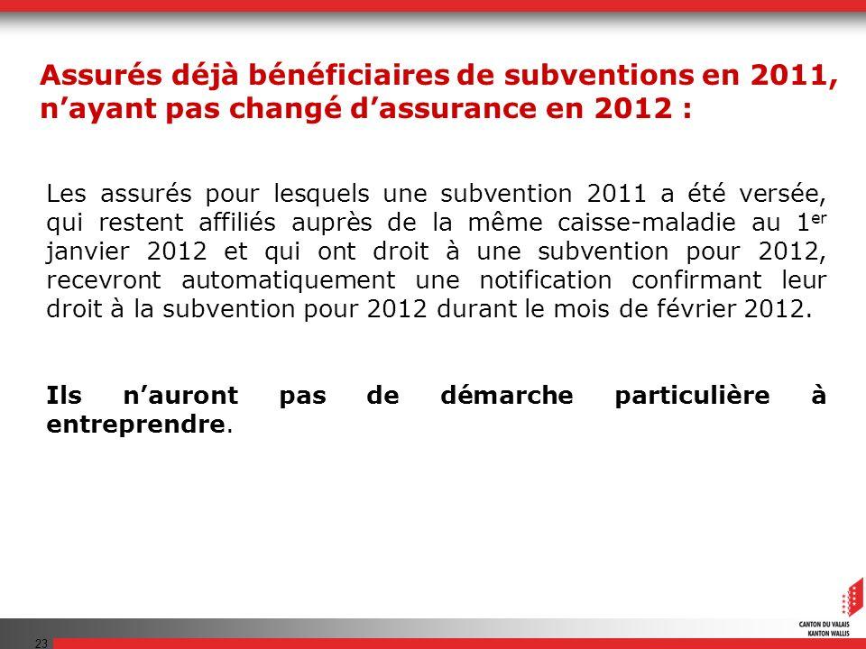 23 Les assurés pour lesquels une subvention 2011 a été versée, qui restent affiliés auprès de la même caisse-maladie au 1 er janvier 2012 et qui ont d