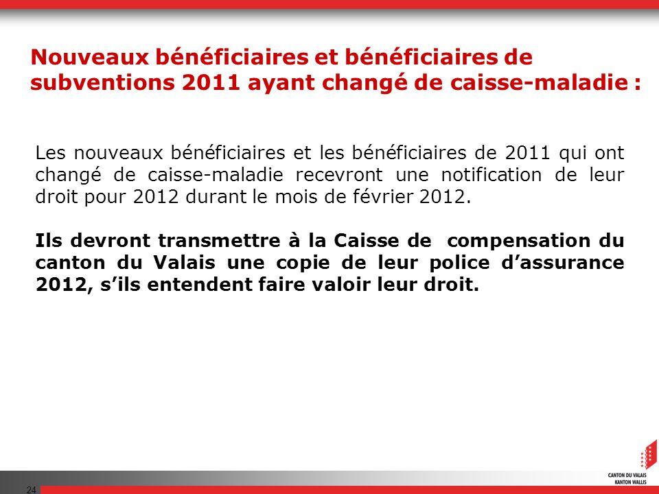 24 Les nouveaux bénéficiaires et les bénéficiaires de 2011 qui ont changé de caisse-maladie recevront une notification de leur droit pour 2012 durant