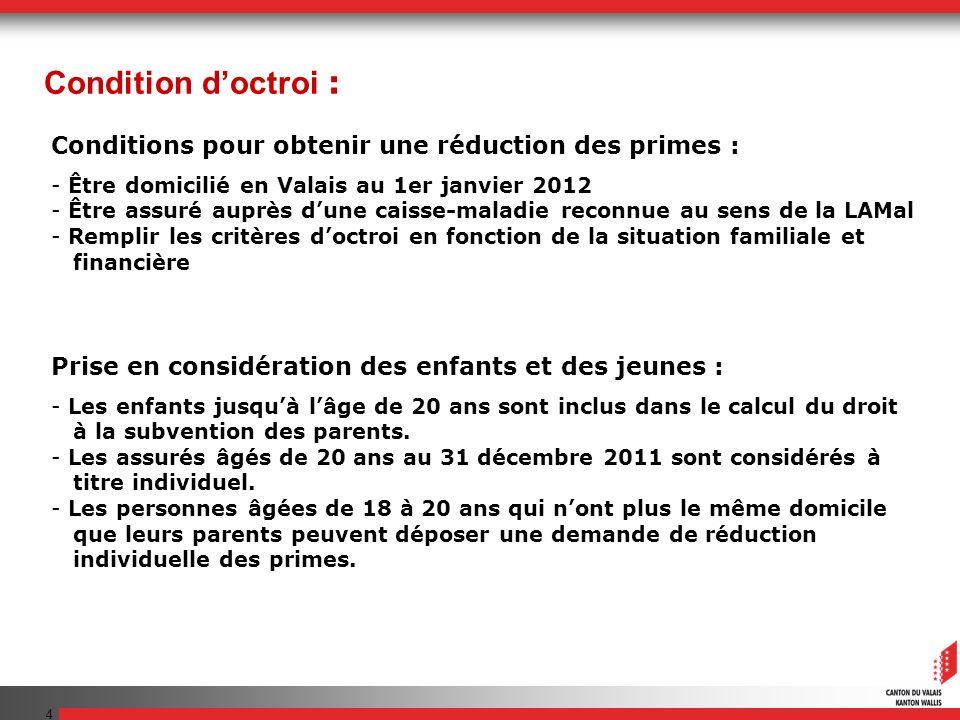 4 Conditions pour obtenir une réduction des primes : - Être domicilié en Valais au 1er janvier 2012 - Être assuré auprès dune caisse-maladie reconnue