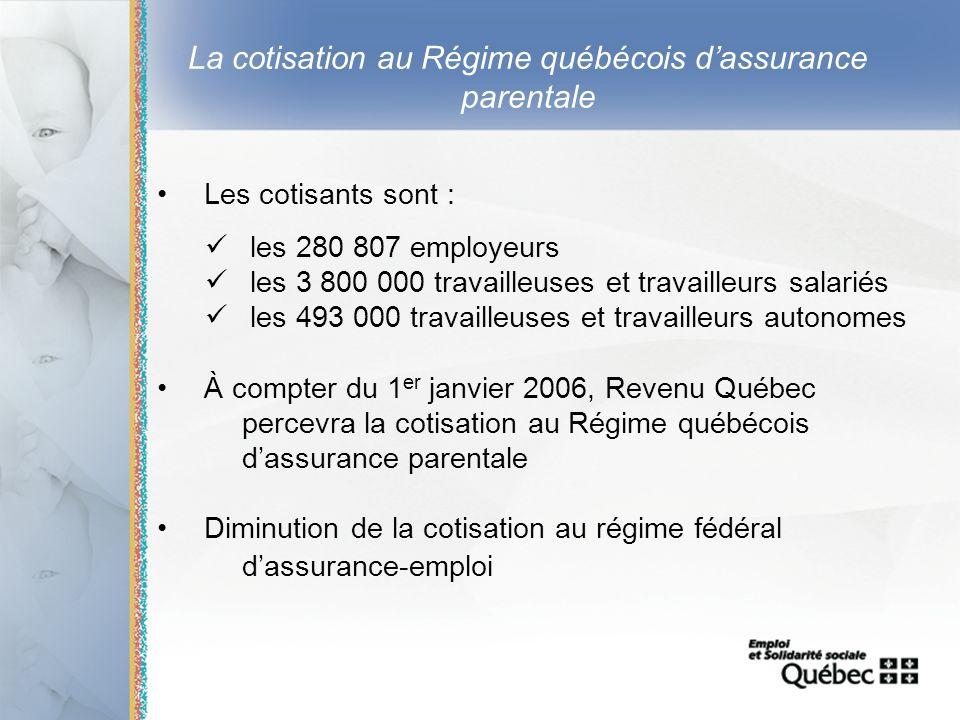 12 La cotisation au Régime québécois dassurance parentale Les cotisants sont : les 280 807 employeurs les 3 800 000 travailleuses et travailleurs sala
