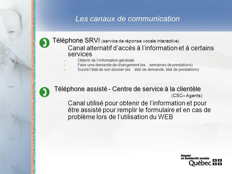 22 Les canaux de communication Téléphone SRVI Téléphone SRVI (service de réponse vocale interactive) Canal alternatif daccès à linformation et à certa