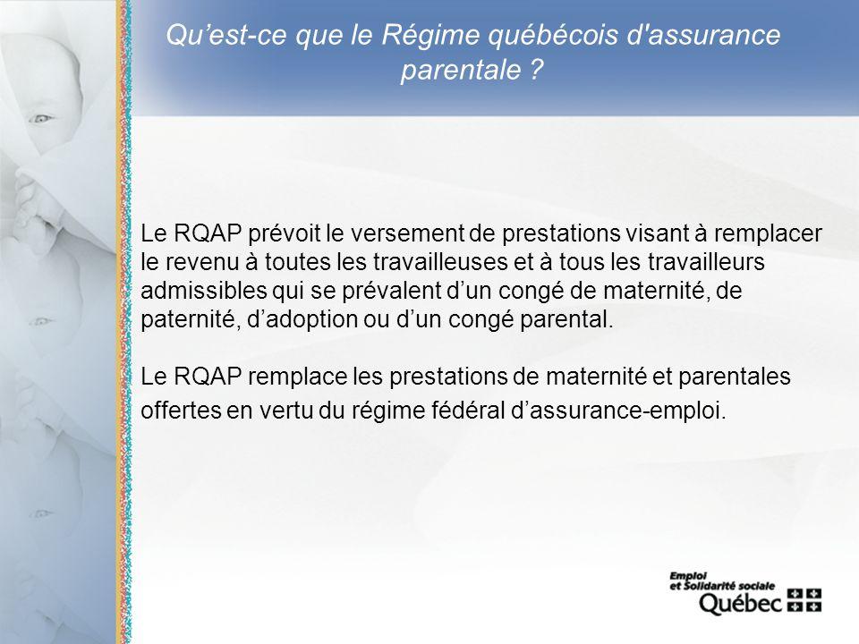 7 Quest-ce que le Régime québécois d'assurance parentale ? Le RQAP prévoit le versement de prestations visant à remplacer le revenu à toutes les trava
