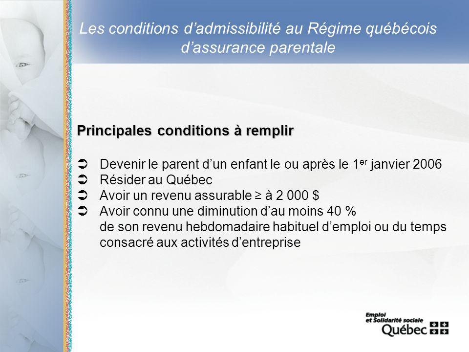 9 Les conditions dadmissibilité au Régime québécois dassurance parentale Principales conditions à remplir Devenir le parent dun enfant le ou après le