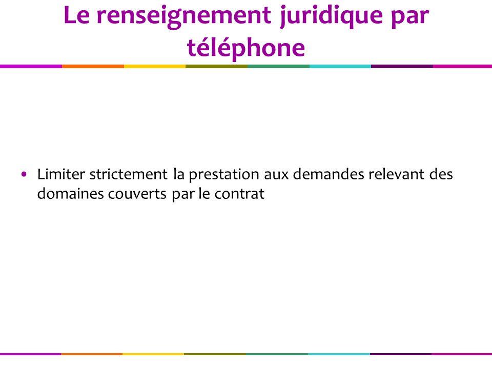 Limiter strictement la prestation aux demandes relevant des domaines couverts par le contrat Le renseignement juridique par téléphone