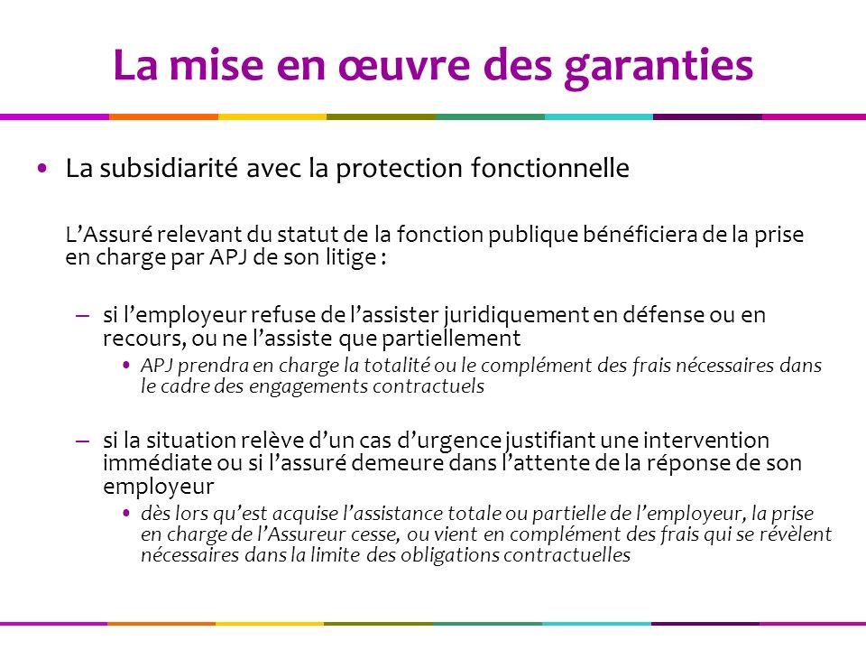 La subsidiarité avec la protection fonctionnelle LAssuré relevant du statut de la fonction publique bénéficiera de la prise en charge par APJ de son l