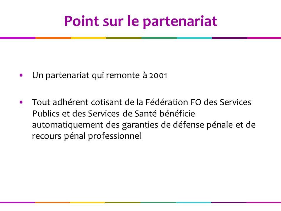 Un partenariat qui remonte à 2001 Tout adhérent cotisant de la Fédération FO des Services Publics et des Services de Santé bénéficie automatiquement des garanties de défense pénale et de recours pénal professionnel Point sur le partenariat