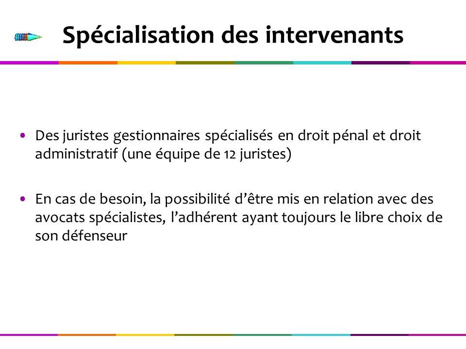 Spécialisation des intervenants Des juristes gestionnaires spécialisés en droit pénal et droit administratif (une équipe de 12 juristes) En cas de bes