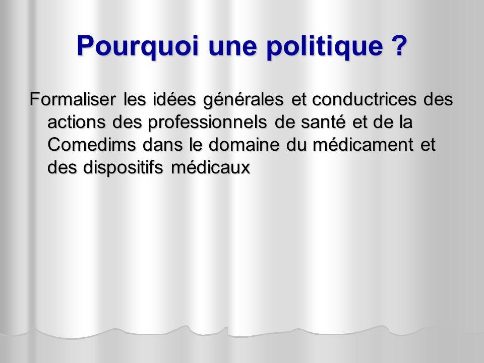 Pourquoi une politique ? Formaliser les idées générales et conductrices des actions des professionnels de santé et de la Comedims dans le domaine du m