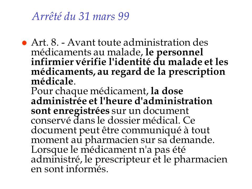 Arrêté du 31 mars 99 l Art. 8. - Avant toute administration des médicaments au malade, le personnel infirmier vérifie l'identité du malade et les médi
