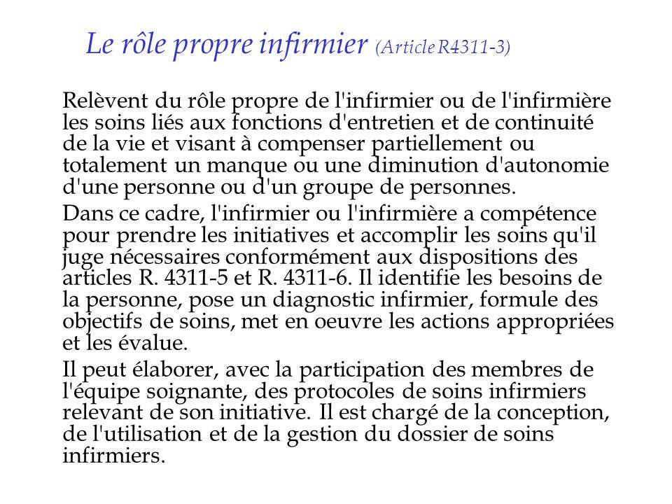 Le rôle propre infirmier (Article R4311-3) Relèvent du rôle propre de l'infirmier ou de l'infirmière les soins liés aux fonctions d'entretien et de co