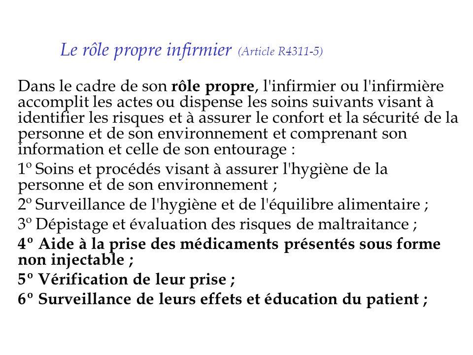 Le rôle propre infirmier (Article R4311-5) Dans le cadre de son rôle propre, l'infirmier ou l'infirmière accomplit les actes ou dispense les soins sui