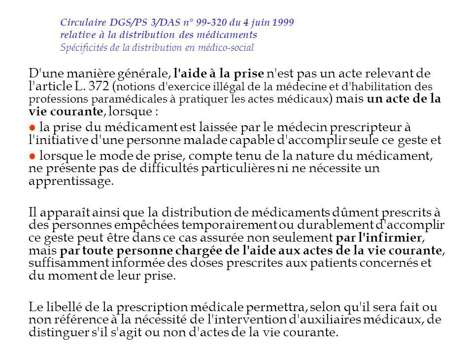 Circulaire DGS/PS 3/DAS n° 99-320 du 4 juin 1999 relative à la distribution des médicaments Spécificités de la distribution en médico-social D'une man