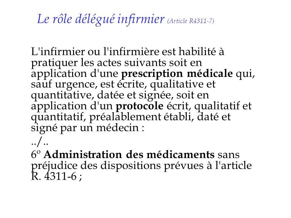 Le rôle délégué infirmier (Article R4311-7) L'infirmier ou l'infirmière est habilité à pratiquer les actes suivants soit en application d'une prescrip