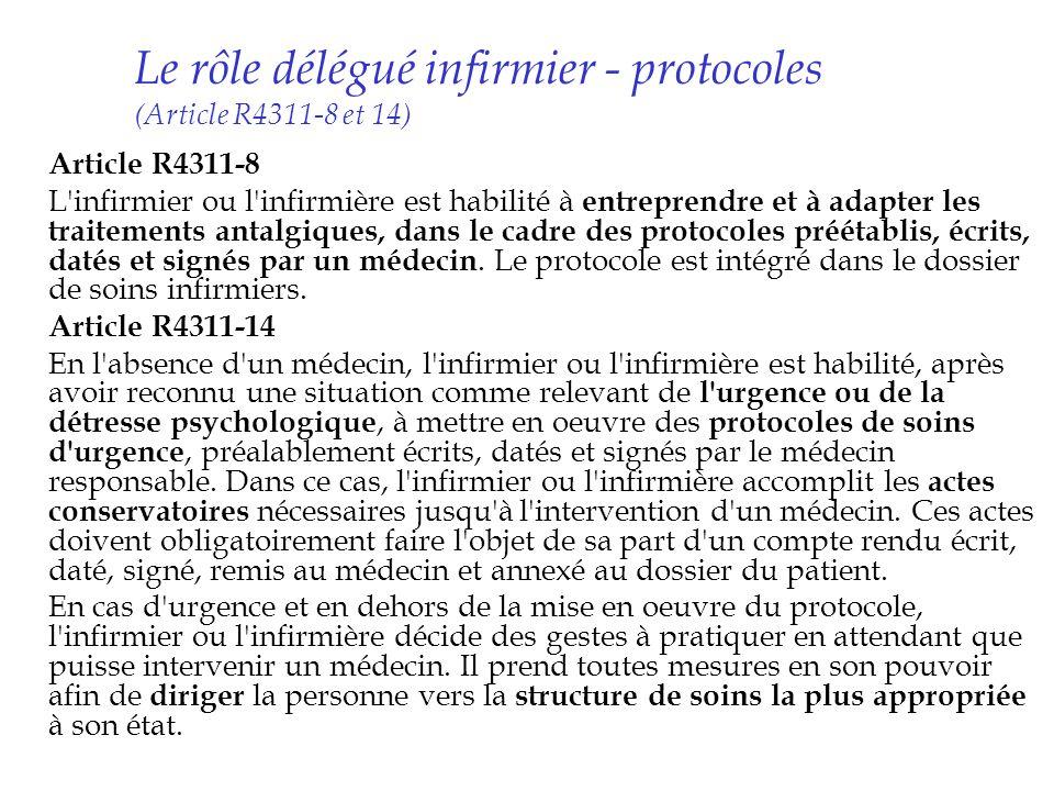 Le rôle délégué infirmier - protocoles (Article R4311-8 et 14) Article R4311-8 L'infirmier ou l'infirmière est habilité à entreprendre et à adapter le