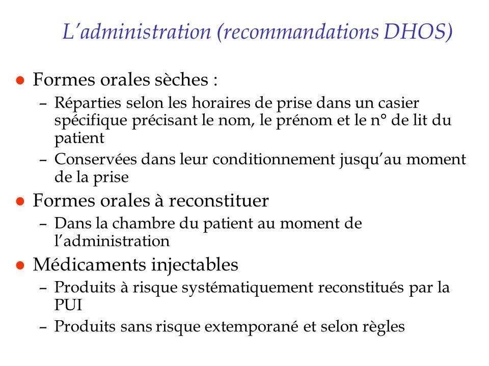 Ladministration (recommandations DHOS) l Formes orales sèches : –Réparties selon les horaires de prise dans un casier spécifique précisant le nom, le