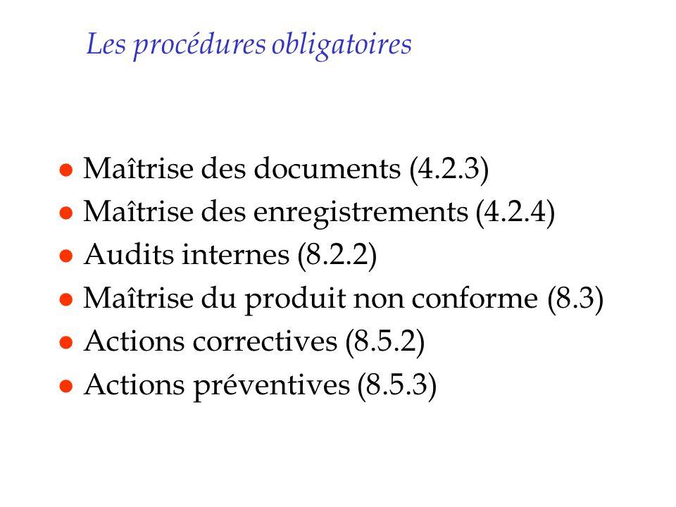 Les procédures obligatoires l Maîtrise des documents (4.2.3) l Maîtrise des enregistrements (4.2.4) l Audits internes (8.2.2) l Maîtrise du produit no