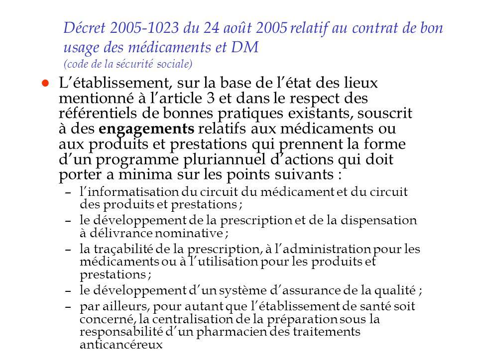 Décret 2005-1023 du 24 août 2005 relatif au contrat de bon usage des médicaments et DM (code de la sécurité sociale) l Létablissement, sur la base de